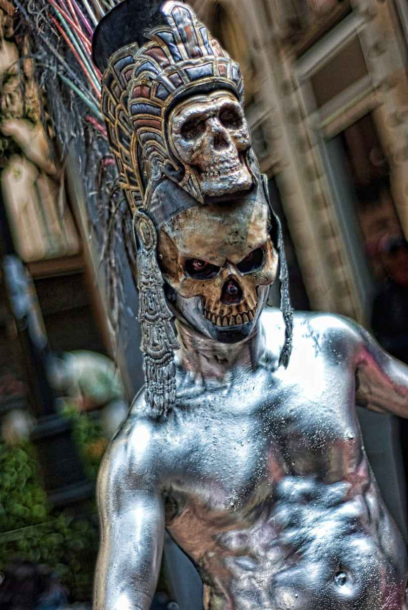shallow focus photography of silver skeleton statue